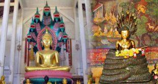 Buddha sedící pod ochranou Nágy