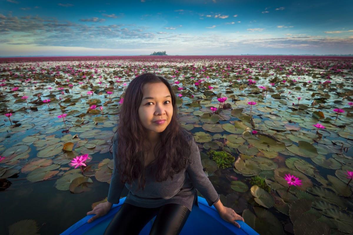 Jezero červených lotosů - Udon Thani - Thajsko