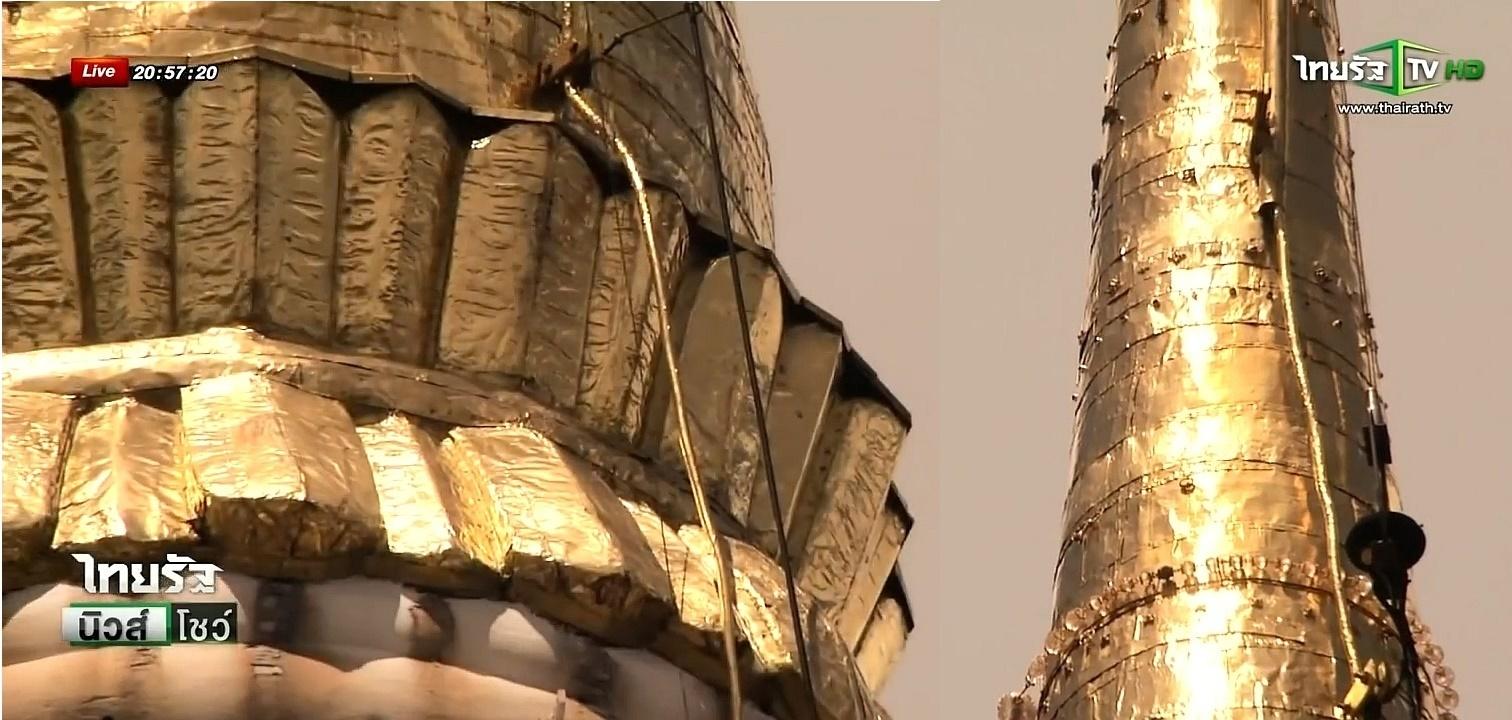 Detail zlatého obložení na Phra Borommathat Chedi