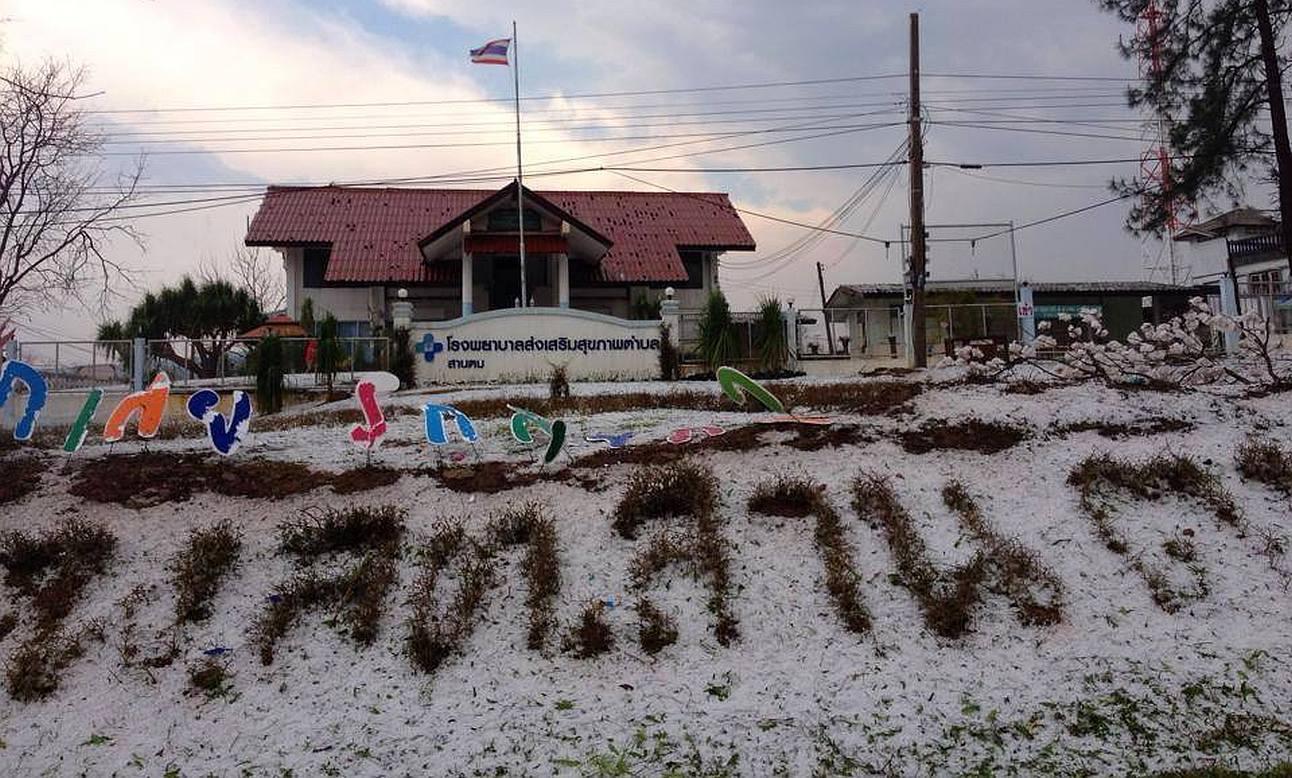 Ledové kroupy v Loei Thajsko
