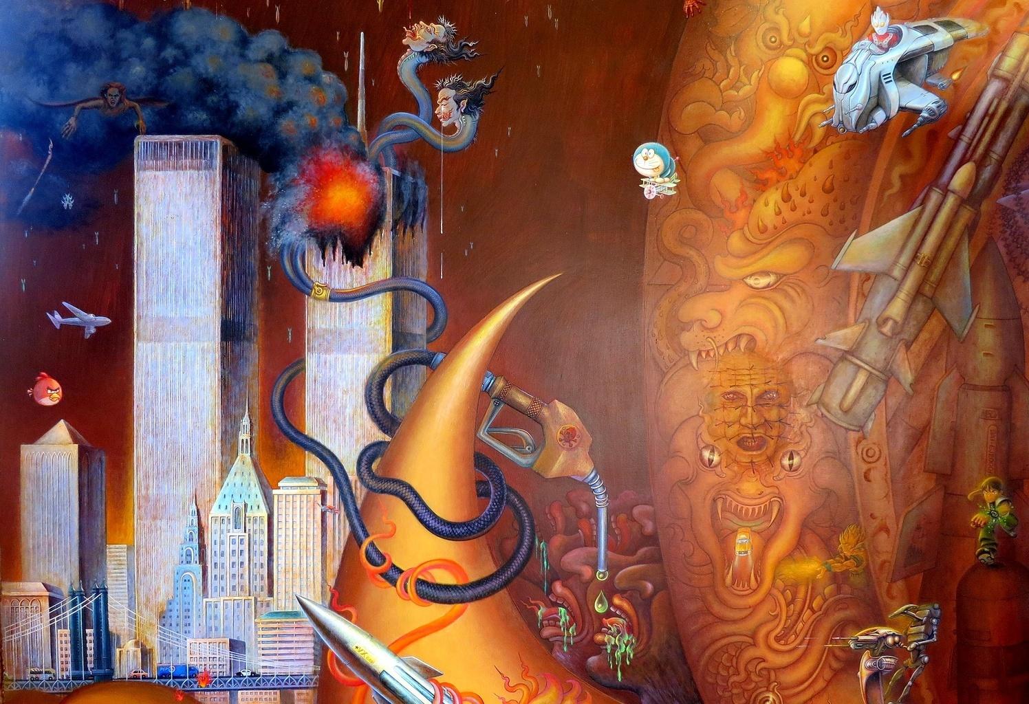 Vnitřní malba WTC - Wat Rong Khun - Thajsko