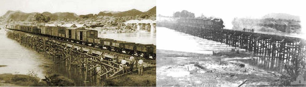 Dřevěný most v provozu (v pozadí je vidět železný)