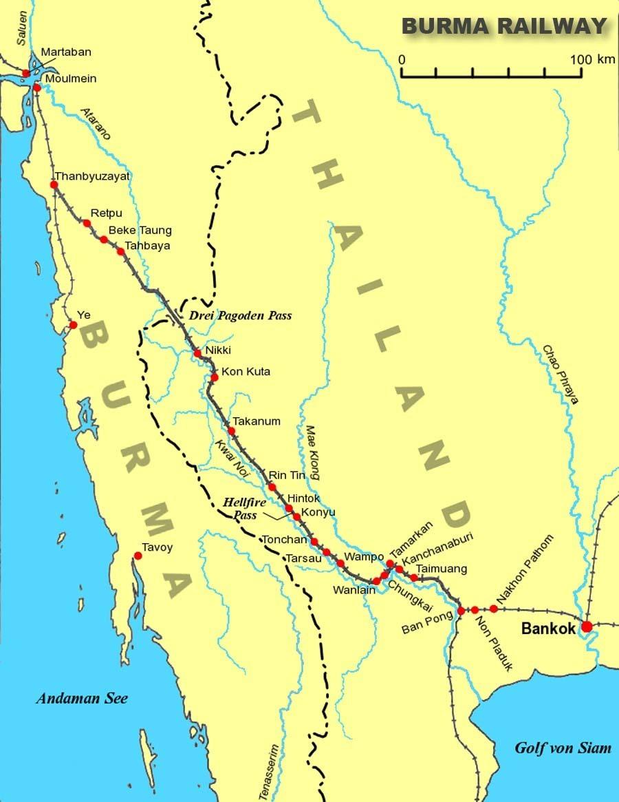 Mapa Železnice smrti