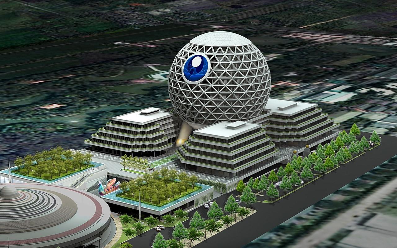 Nová budova - studie - Wat Phra Dhammakaya - Thajsko