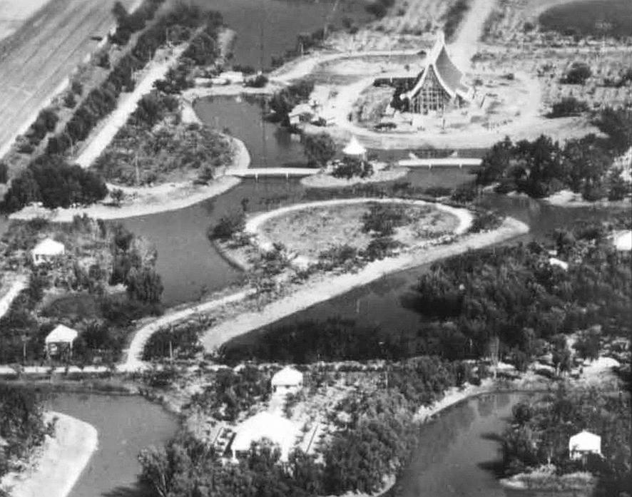 Letecký snímek Wat Phra Dhammakaya okolo roku 1980