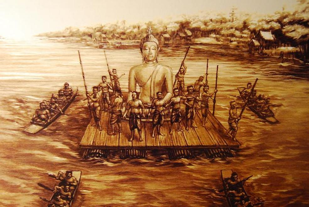 Obrázek přepravy Zlatého Buddhy z Ayutthaya do Bangkoku