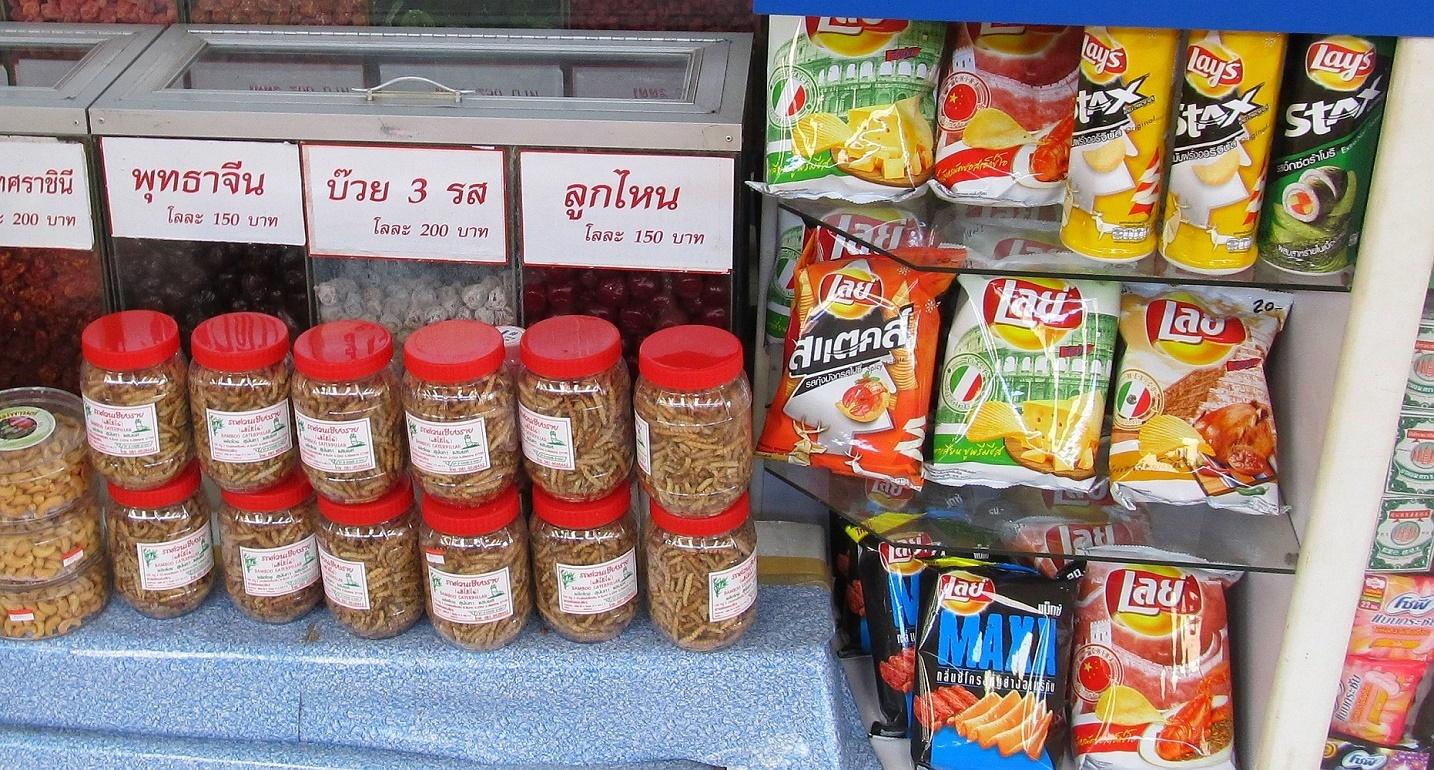 Bambusové housenky Chiang Rai Thajsko